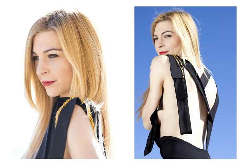 Diseñadora de moda Carla Tomas, vestido negro