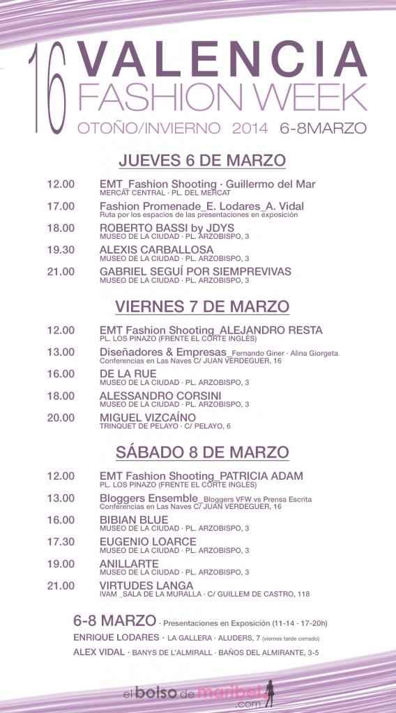 Programa de XVI Edición de Valencia Fashion Week 2014