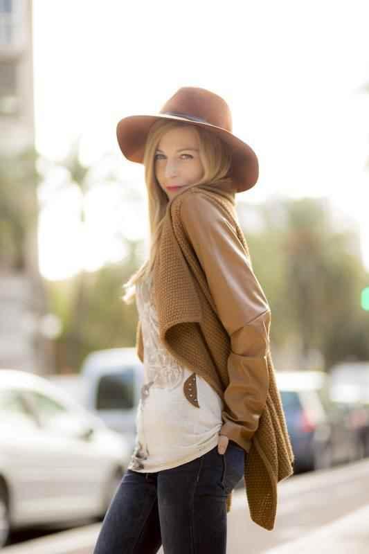 Pamela marrón y tricot camel